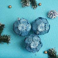 Елочный шар 3 штуки 8 см голубой АКЦИЯ / CQ13205/8 /уп.120/