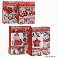 Пакет подарочный 26x32x10 Новый год + ПОДАРОК гирлянда к уп. 12 шт / 16024M /уп 12/480/