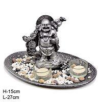 Фен-шуй сувенир подсвечник Хотей со свечами / K13K252 /уп 54/
