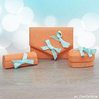 Подарочный набор аксессуаров (кошелек, шкатулка, помадница) / 14001/ оранжевый Акция