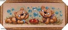 Картина гобелен 34x87 Баловни. Два медвежонка / KS3814-2 / иваново