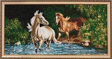 Картина гобелен 40х80 Купание коней / D230 / 10036-17 /