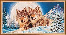 Картина гобелен 50х100 Волки / M151 / KS4020-1 / золотая  нить