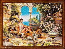 Картина гобелен 60x80 Девушка с леопардом / M011 /  KS4020-3 /золотая нить
