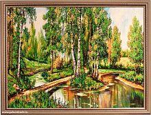 Картина гобелен 60х80 Мостик на лесной реке / F120 / KS4020-1 / золотая нить