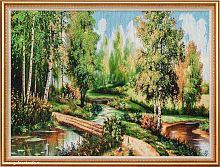 Картина гобелен 60х80 Пейзаж с мостиком / F089 / KS4020-1 /золотая нить