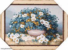 Картина гобелен 34х48 Роскошный голубой букет / 4205C-213А / иваново