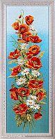 Картина гобелен 35х102 Маки и ромашки вертикальные / 4517C-25E /иваново