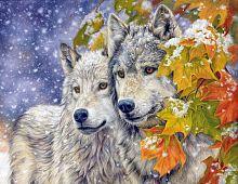 Картина для раскрашивания Волчья пара 40х50см / GX8416 /