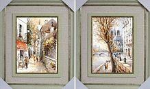 Постер в двойном багете из двух картин Улочки Парижа 50х60 см