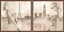Постер из двух картин Лондон Париж 30х30 см