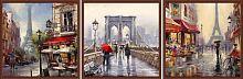 Постер из трех картин Прогулка по Парижу 30х30 см