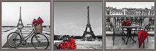 Постер из трех картин Романтика Парижа 30х30 см