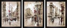 Постер из трех картин Старый город 30х40 см (темный багет)