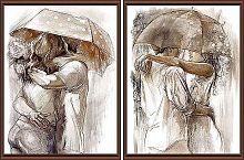 Постер из двух картин Пара под зонтом 30х40 см