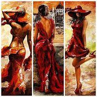 Постер из трех картин Девушки в красном 20х40 см