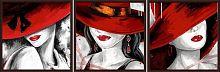 Постер из трех картин Красные шляпы 30х30 см