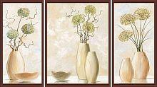 Постер из трех картин Бежевые вазы (30х40 см-1см,20х40см-2 штуки)