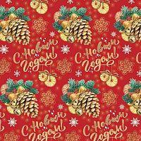 Бумага оберточная Шишки с колокольчиками для сувенирной продукции в рулонах, с полноцветным декоративным рисунком, плотность 90 г/м2 / 100х70 (погрешн