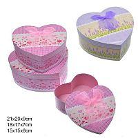 Коробка подарочная 3 штуки Сердце / XH50328 /уп 36/