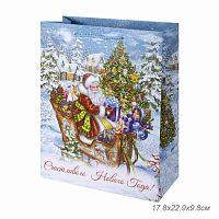 Бумажный пакет Новогодние сани для сувенирной продукции, с ламинацией, с шириной основания 17,8 см, плотность бумаги 140 г/м2 / 17.8х22.9х9.8см арт.79
