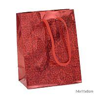 Пакет подарочный 14х11х6 красный / 0162-20 /уп 12/ голограмма