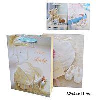 Пакет подарочный 32х44х11 С новорожденным / 178-2 /уп 12/360/