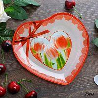 Блюдо 20 см Сердце / HT0008 U231-1 GREY /уп 6/48/ Серая коробка