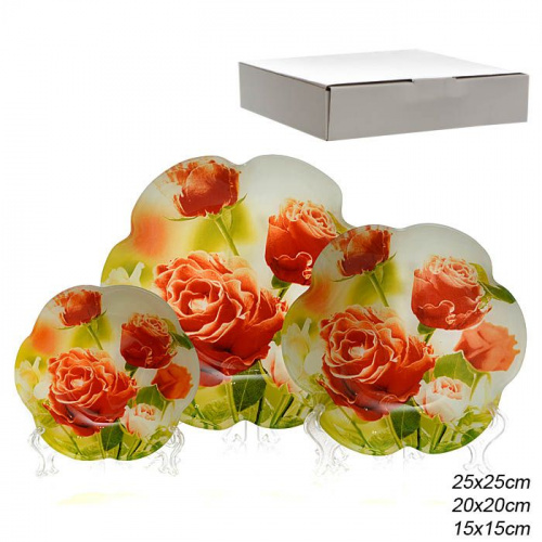 Салатники 3 предмета 25, 20 и 15 см Цветок / 1049-021C /уп.8/ белая коробка