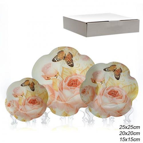 Салатники 3 предмета 25, 20 и 15 см Цветок / 1049-Z930 /уп 8/ белая коробка