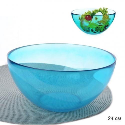 Салатник 3000 мл 24 см стекло  бирюзовый  АКЦИЯ / PYLY240T /уп.12/