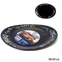 Тарелка для стейка 30х26 см Френдс Тайм Блэк / N2172 / Р1070 /уп 12/ декорированная