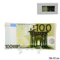 Тарелка с подставкой 100 Евро в цветной коробке / S1910 K161 /уп 60/