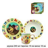 Столовый набор 3 предмета Маша и Медведь Азбука / MBCS3-3 /уп 4/ п/у